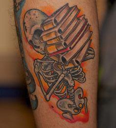 skeleton and books tattoo