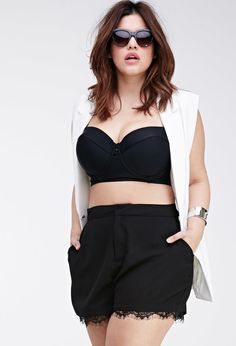 FOREVER 21+ Eyelash Lace-Trimmed Shorts- need these! #plussize
