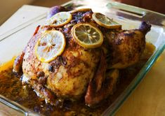 Roasting a whole chicken is one of the simplest solutions to weeknight meals. This recipe uses a standard Cajun spice rub that is easy to mix together. For maximum flavor I used fresh thyme, lemons and garlic in addition to the spice blend. A trick I use to get the seasoning under the skin is by