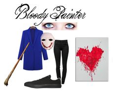 """""""Bloody Painter"""" by chuckygal-mp ❤ liked on Polyvore featuring Proenza Schouler, Converse and WALL"""
