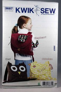 Kwik Sew 3687, Child's Back Packs Pattern, Animal Backpacks Pattern, Elephant, Owl and Chicken Back Packs, Sewing Pattern, Uncut by Allyssecondattic on Etsy
