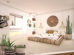 This room has harmony in the colors. There are splashes of the tan in every part so it all flows well. Minimal House Design, Interior Design Minimalist, Home Interior Design, 2 Bedroom House Plans, Home Bedroom, Bedroom Decor, Bali Bedroom, Bedrooms, Spanish Bedroom