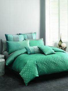 Hampshire Teal Quilt Cover from Lorraine Lea Linen