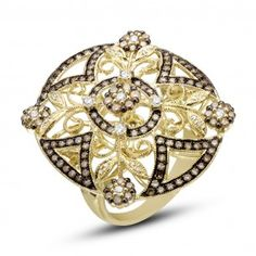Dabakarov 14KYG Oval Filigree Brown Diamond Ring