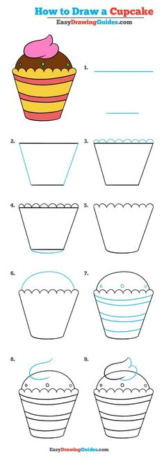 Learn How to Draw a Cupcake: Easy Step-by-Step Drawing Tutorial for Kids and Beginners. #Cupcake #drawingtutorial #easydrawing See the full tutorial at https://easydrawingguides.com/how-to-draw-cupcake-really-easy-drawing-tutorial/.