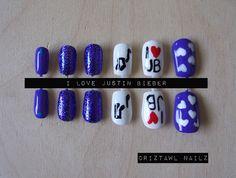 I Love Justin Bieber Nail Art Set. $8.00, via Etsy.