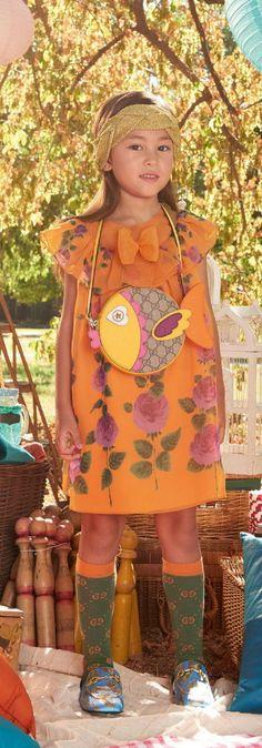 Gucci Girls Orange Floral Print Dress for Spring Summer 2018.