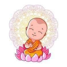Little meditating Buddha on the lotus. Vector cartoon illustration on a white background. Buddha Meditation, Buddha Buddhism, Buddha Drawing, Buddha Painting, Baby Buddha, Little Buddha, Buddha Kunst, Buddha Art, Drawing For Kids