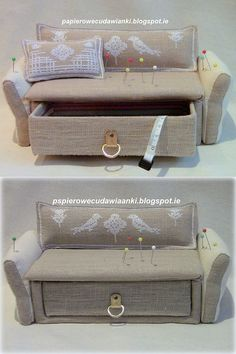 Needle bed-box in the form of sofas out of the box. Photos idea.