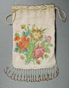 Vintage Beaded Purse - Knitted Floral Drawstring Fringed Tiny Beads #Unbranded #Drawstring