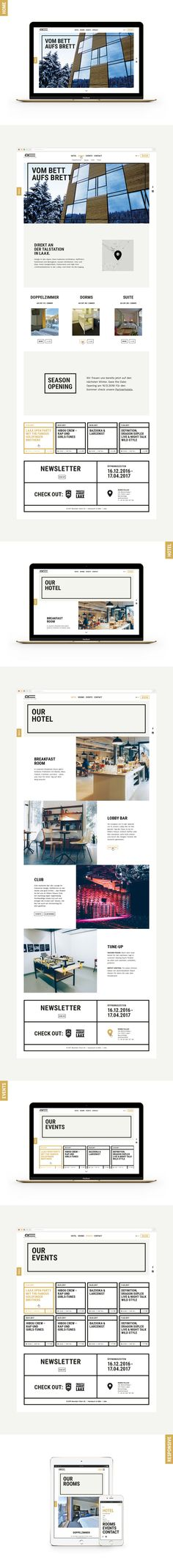 Strong, bold typography with thick black strokes, mixed with a calming yellow/gold colour theme – a website inspired by the hotel's architecture. Palace, Bold Typography, Web Design, Graphic Design, Website Design Inspiration, Hotel S, Color Themes, Skiing, Winter