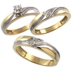 Gold Plated Sterling Silver Diamond Trio Wedding by WorldJewels