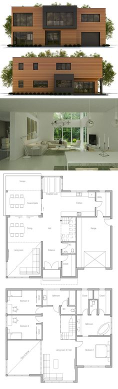 Modern House Plan - remove upstairs living and move 1 br over and add 2 baths to the kids rooms