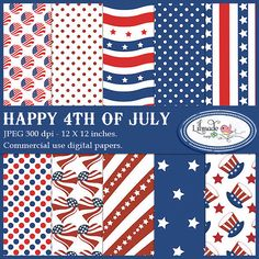 Happy 4th of July digital papers for commercial use