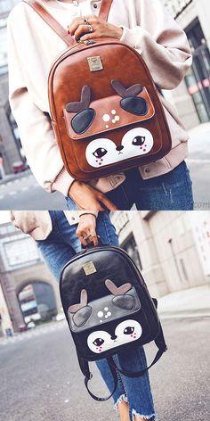 Brown or black? Cute Cartoon Shy Deer Splicing PU Girl's College Backpack School Bag #cute #cartoon#shy #deer #pu #backpack #bag