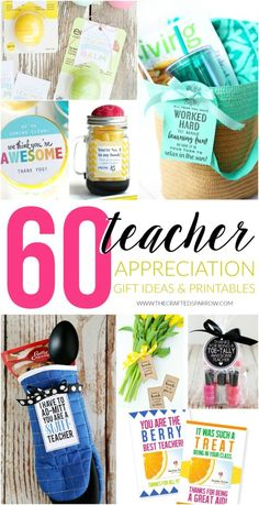 60 Teacher Appreciation Gift Ideas & Printables Celebrate those hard-working teachers with a little extra something special, these 60 Teacher Appreciation Gift Ideas & Printables will be a hit! Teacher Aide Gifts, Teachers Aide, Teacher Gifts Cheap, Handmade Teacher Gifts, Teachers Week, Cheap Gifts, Teacher Stuff, Presents For Teachers, Gift Ideas For Teachers