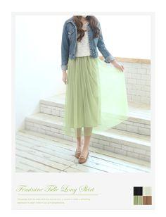 Feminine Tulle Long Skirt : Shopping Japanese products from Japan