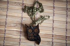 Necklace with handmade owl pendant made of iroko by SilviaWithLove, €16.00