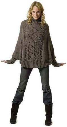 Knitting Patterns Poncho Free Wisteria pattern, it is a trapeze raglan turtleneck pullover. Diy Tricot Crochet, Knit Or Crochet, Crochet Shawl, Crochet Vests, Crochet Cape, Crochet Edgings, Knitted Shawls, Crochet Motif, Poncho Knitting Patterns