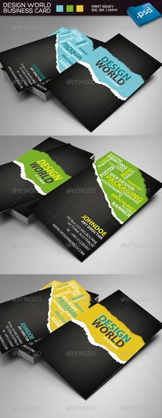 Design world business card:- 3 colors variations: yellow, blue and green - 23.5 inches- 300 dpi - CMYK - Bleed and Guides - Font: