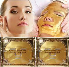 Gold Bio-Collagen Eye Mask 5 pairs+ Facial Mask 5pcs/lot Crystal Gold Powder Collagen Moisturizing Anti-aging 2015 New Hot
