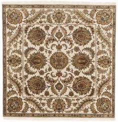 Square Hand-Knotted Indo-Persian Rug - 6'x 6' on Chairish.com