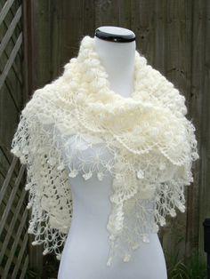 Blanco de la boda chal cabo de la boda de Novia de por MODAcrochet