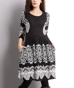 Another great find on #zulily! Black Lace-Print Fit & Flare Dress #zulilyfinds