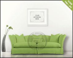 Living Room | Styled Sofa Interior | 8x10 16x20 White Landscape Frame | Modern Green Sofa | Flowers| Empty wall | Styled stock mockup