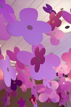 pink and purple flower cutout ceiling decorations