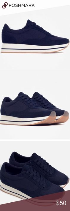 """ZARA MESH SNEAKERS Pre-owned """"ZARA MESH SNEAKERS"""".  Color: Navy Blue.  Size: 39 EU / 9 US.  The new owner will like these sneakers very much.  It looks brand new but does not comes in box b'coz I already threw it away. Zara Shoes Sneakers"""