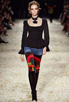 Look 5 from the TOM FORD AW15 Womenswear Collection #TOMFORD | Peplum top with scoop neckline, straight leg and decco patchwork jean, knee high beaded toe and jewel heel boot, knots choker with pendant.