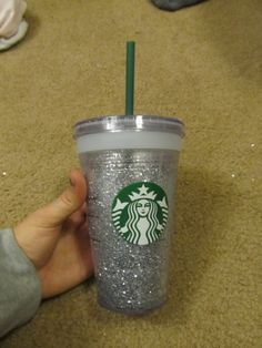 Glitter Starbucks drink cup. Make in gold with pink straw for game prize with gift card inside.