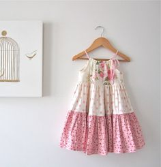 Baby Girl Easter Dress-pink cotton cream shabby roses cottage ruffled layers -Handmade Children Clothing by Chasing Mini. $55.00, via Etsy.