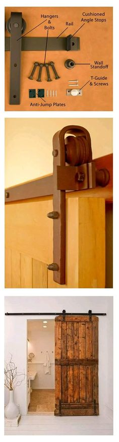Sliding barn door ~ hardware & finished product For between the mini mud room and the kitchen area! Then the door won't be in the way and you can have shelves and hooks etc on both sides 👍🏼 Sliding Barn Door Hardware, Sliding Doors, Rustic Hardware, Door Hinges, Old Doors, Barn Doors, Entry Doors, Home Projects, Home Remodeling