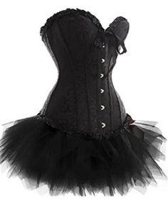 345c509e160 Plus Size Black Lace Up Overbust Corset Bridal Lingerie With Tutu Fancy  Dress Outfits