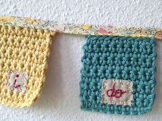 Crochet Bunting with Embroidered words and Liberty by giovabrusa