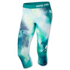 Women's Nike Pro Splatter Capris | FinishLine.com | Turbo Green/Obsidian/White