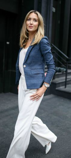 navy blue glen plaid classic blazer with white buttons, ivory wide leg silk pleated front pants, white camisole, white pointed toe flats, deco madison diamond dial watch // veronica beard, nicholas kirkwood, michele