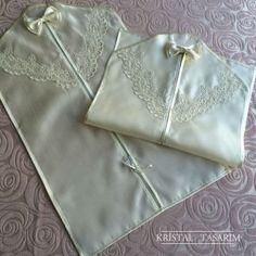 Fransız Dantelli Elbise Kılıfı | Ekru
