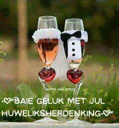 Anniversary Quotes, Happy Anniversary, Bride And Groom Glasses, Bride Groom, Baie Dankie, Happy Birthday Wishes, Getting Married, Wedding Decorations, Diy Crafts