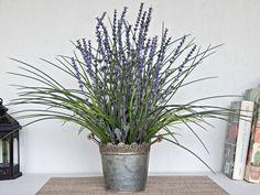 Summer Artificial Flowers - Silk Lavender Arrangement - Faux Flowering Plant - Lavender Centerpiece - Flower Home Decor