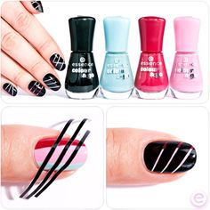 hi beauties, striped nails are totally on trend! simply paint your nails in different colors and leave to dry. then stick on our just magic nail art stickers and cover with another color. remove the stripes while the polish is still moist.  have you tried this nail art style yet?  #essence #nailpolish #nails #nailart #stripednails #tutorial