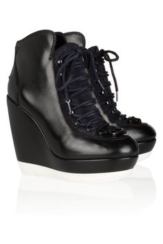 KENZO Leather wedge sneakers NET-A-PORTER.COM
