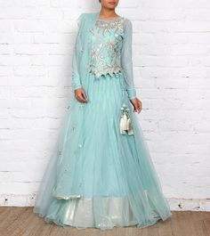 Sky Blue Net Lehenga Set