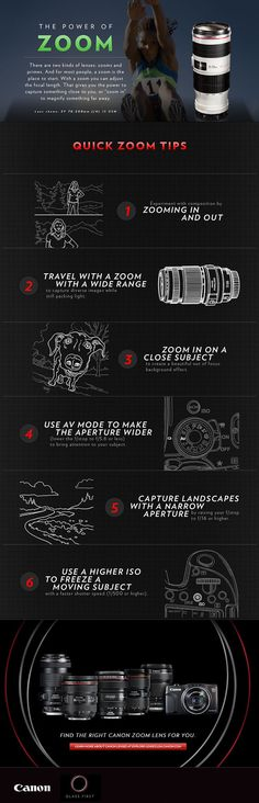Check out these zoom lens quick tips from Canon! It's a beginners guide to the most versatile kind of lens.(great for newbies) Photography Cheat Sheets, Photography Basics, Photography Lessons, Photography Camera, Photography Equipment, Photography Tutorials, Digital Photography, Shadow Photography, Photography Studios