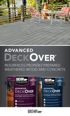 Summer has arrived, and you know what that means—time to makeover your outdoor deck! BEHR PREMIUM ADVANCED DeckOverⓇ resurfaces properly prepared weathered wood and concrete so you can enjoy your backyard all summer long. Click below for full product details.