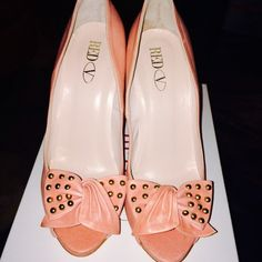 Valentino Blush Pink Valentino Peep Toe Heels Valentino blush pink leather soft peep toe sandals, bow with good studs, very comfortable, brand new, never worn, comes with box, and dust bag, 4inch heel, gorgeous shoes, fits a size 8-8.5 Valentino Shoes Heels