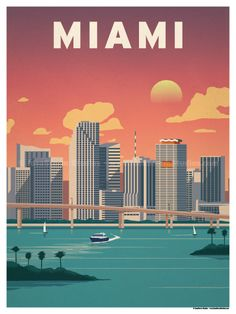 Downtown Miami Poster by IdeaStorm Studios ©2017. Available for sale at ideastorm.bigcartel.com