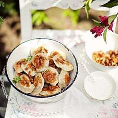 Pierogi - traditional Polish food - these are with veal and chanterelles
